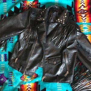 Nasty Gal Faux Leather Fringe Jacket